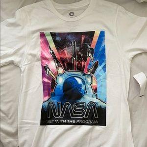 Akademiks NASA Space White Graphic Crew T Shirt